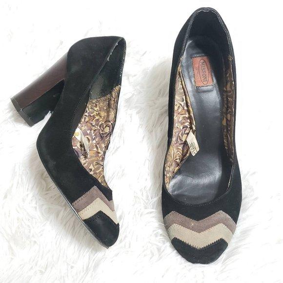 Missoni For Target Black Suede Leather Wooden Heel